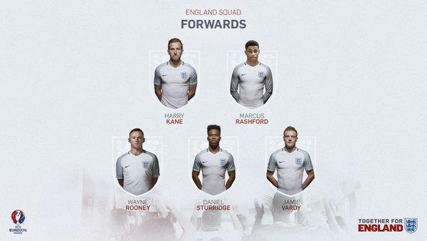 England Squad Euro 2016 - Strikers
