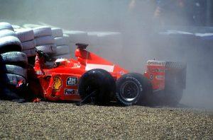 Accident Michael Schumacher - Ferrari - 11.07.1999 - Formule 1 - Grand Prix de Grande Bretagne - Silverstone Photo : Xpb / Icon Sport