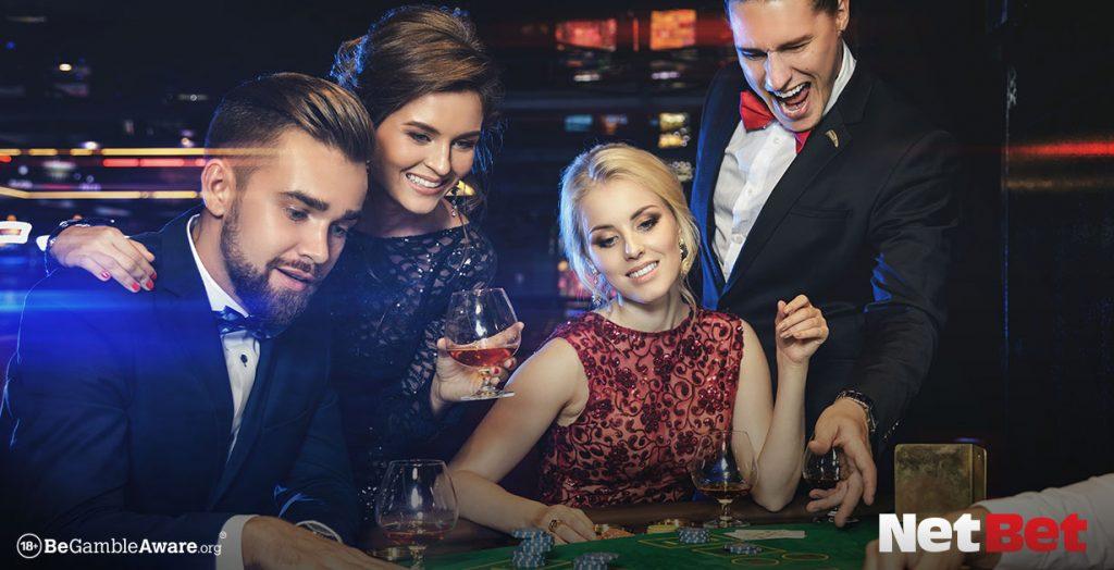 Happy rich people in casino