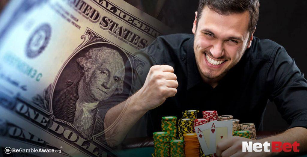 Happy man wins at poker