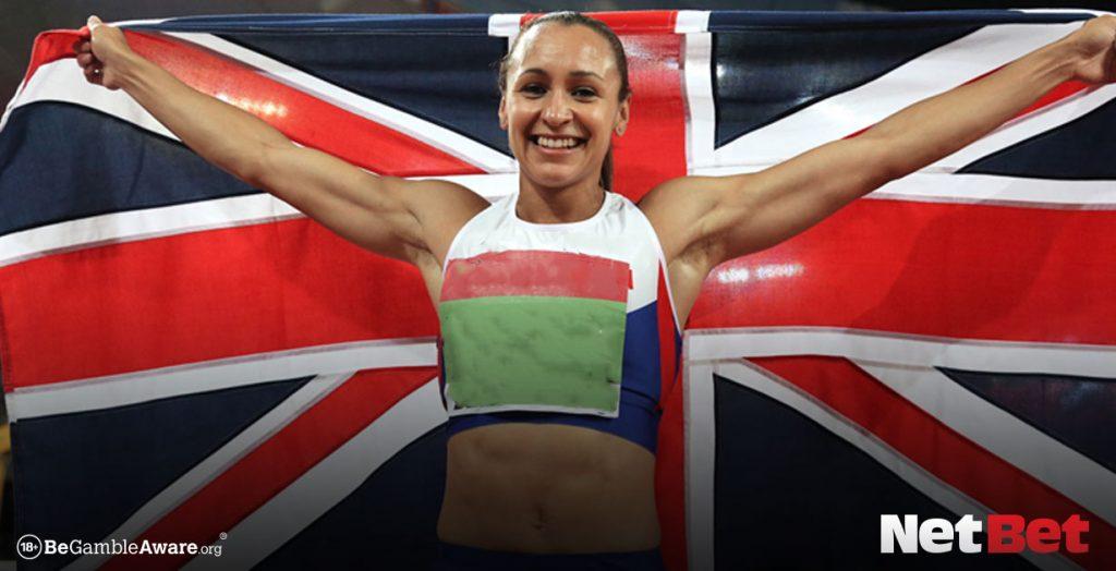 Jessica Ennis-Hill with British flag